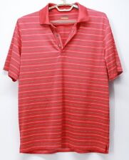 Men's Izod Polo Golf Shirt Short Sleeve Red Striped Medium