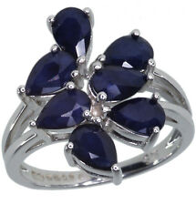Sapphire Blue Gemstone Cluster Sterling Silver Ring size N