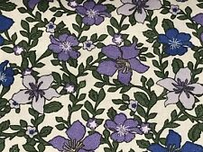 Fabric Flowers Ivy's Purple Tossed on Navy Cotton by the 1/4 yard