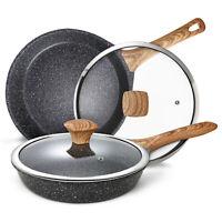 "Miusco Nonstick Granite Stone Frying Pan Set with Lids, 10"" & 12"", PFOA Free"