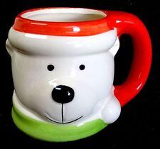 "Holiday Bear Cocoa/Coffee Mug Royal Norfolk Ceramic Christmas Cup 3-1/2"" High"