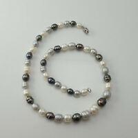 "Honora Genuine Pearl White Silver Gray Sterling Clasp 18"" Necklace Original Box"