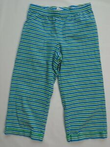 Hanna Andersson Girls Blue/Green/White Stripe Cropped Pants Size 130 US 8