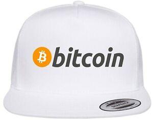 Bitcoin Logo Crypto Symbol Emblem Printed on Hat Flat Bill Yupoong Trucker Cap