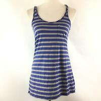 Gap Womens Striped Tank Top Size Small Blue Gray Sleeveless Racerback Blouse