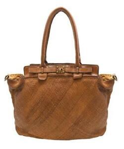 BZNA Bag Daria Cognac vintage Designer Damen Leder Handtasche Schultertasche