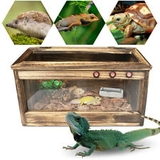 Wooden Reptiles Turtle Tortoise Enclosure Heating Cage Lizard Snake 80*40*40Cm