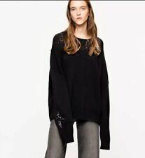 Zadig & Voltaire Medium Rony Patch Black Sequin Star Sweater Jumper Oversized