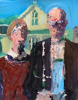 American Gothic Surreal Abstract Realism Palette Knife Art Original Painting