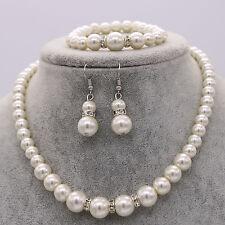 Wedding Bride Bridesmaid Pearl Crystal Necklace Earrings Bracelet Set Jewelry UK
