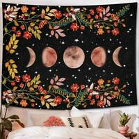 Psychedelic Moonlit Garden Tapestry Moon Phase Vines and Flowers Wall Hanging