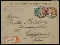 Germany 1900 Turkey Constantinople Registered 3-Color Frank Cover 84829