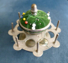 Vintage Metal Sewing Pin Cushion And Thread Holder