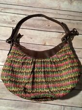 Fossil M MultiColor Synthetic Woven ZigZag Brown Hobo Shoulder Bag Purse 75082