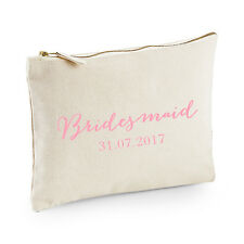 Personalised Bridesmaid Make Up Bag/Pouch - Cream/Pink - Wedding Gift Favour
