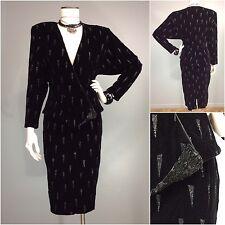 NewWave 80s High Waist Pencil Skirt Dolman Wrap Velvet Jacket Deco Bling CLIMAX