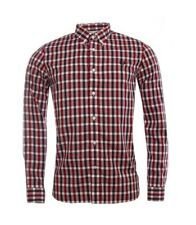 Fred Perry Shirt Mens Deep Red Gingham Check Long Sleeve Top S