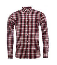 Fred Perry Herringbone Gingham Men's Long Sleeve Shirt M8290-842 - Deep Red
