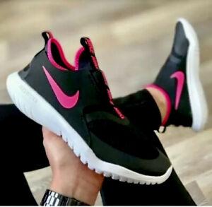 New Nike Flex Running Shoes Size 5.5 Pink Black Flex Runner Slip-On Sneakers