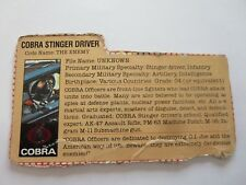 Cobra Stinger Driver Gray Back 1984  File Card  GI Joe Vintage LP