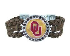 Oklahoma Sooners Braided Brown Leather Crystal Bracelet Jewelry Red OU Gift
