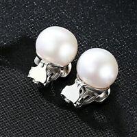 925 Sterling Silber Damen Clip Ohrringe Süsswasser Perle AAA 10 mm Ohrschmuck