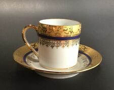 LIMOGES DEMITASSE CUP & SAUCER Porcelaine D'Art Malevergne