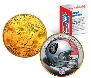 OAKLAND RAIDERS NFL LICENSED 24K Gold Plated IKE Eisenhower Dollar U.S. Coin
