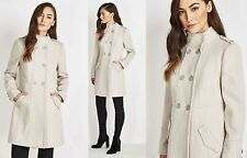 New Wallis Stone Beige Funnel Neck Military Style Double Breasted Coat 10 14
