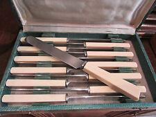 ancien coffret 12 petits couteaux de thiers manche bakelite lame inox art deco