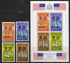 TURKS & CAICOS ISLANDS , US , US BICENENNIAL , S/S & SET OF 4 STAMPS , PERF, MNH