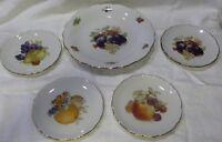 """SCHUMANN Arzberg Bavaria FRUITS 12"""" CHARGER 4 Matching 7 1/2"""" Plates Set"""