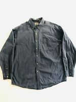 LL Bean Long Sleeve Blue Plaid Mid Weight Cotton Men's Large
