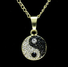 "Mini Icy Ying Yang Pendant Cz 14k Gold Plated 24"" Cuban Chain Hip Hop Necklace"