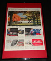 1955 Atlas Tires & Batteries Framed 11x17 ORIGINAL Advertising Display