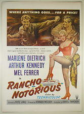 Vintage 1952 Lg Full Pg Magazine Movie Print Ad: RANCHO NOTORIOUS - M. Dietrich
