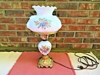 Vintage Milk Glass Electric Rose Design GWTW Parlor Lamp by Hedco