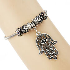 Tibetan Silver Hamas Hand Fatima Charm Bracelet Classical Chain Bangle Jewelry