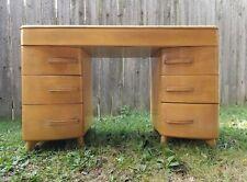Vintage Heywood Wakefield 1940 Kneehole Desk Mid Century Modern - Wheat
