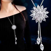 Fashion Crystal Rhinestone Snowflake Pendant Long Sweater Women Necklace Gifts