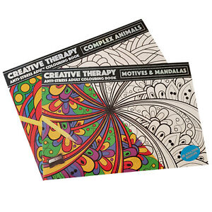 Set of 2 Large A3 Adult Colouring Books Animals Mandalas Patterns Art Therapy