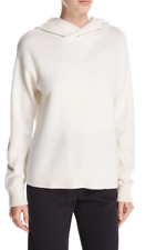 $345 NWT VINCE CASHMERE & WOOL HOODIE CROSSOVER PULLOVER SWEATER WINTER WHITE M