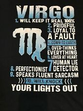 Virgo Zodiac T Shirt 10 Traits Funny Sarcasm 2XL Black NWT