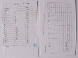 Cricket Umpire Match Cards - 50 overs Large Boxes