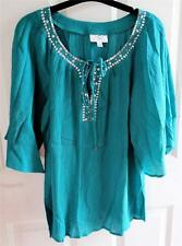 NEW - OSO Casuals Cotton Boho Kimono Sleeved Embellished Neck Solid Top SZ M