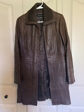 JONES NEW YORK Genuine Leather Brown Long Sleeve Collared Lined Long Coat SMALL