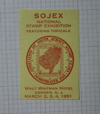 1951 Sojex Natl Stamp Expo S Jersey Stamp Club Event Souvenir Ad