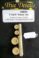 TRUE DETAILS 1:48 SET RUOTE IN RESINA WHEEL SET F-4B/N 4 RUOTE WHEELS  ART 48053