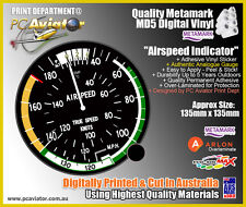 Aviation Airspeed Indicator Guage Sticker - Car, Window, Tablet, Phone, Glass