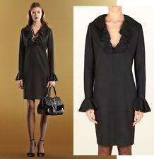 GUCCI DRESS BLACK 100% WOOL JERSEY V-NECKLINE WITH RUFFLES sz SMALL